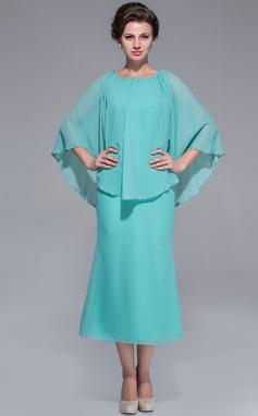 Vestidos princesa/ Formato A Decote redondo Comprimento médio De chiffon Vestido para a mãe da noiva (008025759)