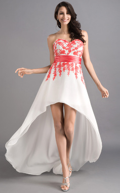 A-Line/Princess Sweetheart Asymmetrical Chiffon Prom Dress With Sash Appliques Lace (018046257)
