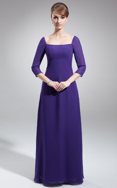 Sheath/Column Square Neckline Floor-Length Chiffon Mother of the Bride Dress (008022553)
