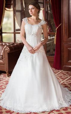 Forme Princesse Bustier en coeur Traîne moyenne Satiné Organza Robe de mariée avec Plissé Emperler Motifs appliqués Dentelle (002000152)