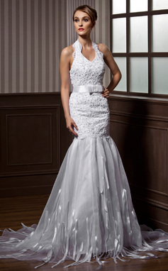 Trumpet/Mermaid Halter Court Train Organza Wedding Dress With Beading Bow(s) (002012739)