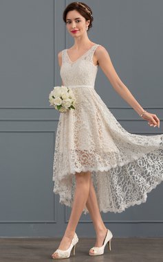 A-Line/Princess V-neck Asymmetrical Lace Wedding Dress (002127282)