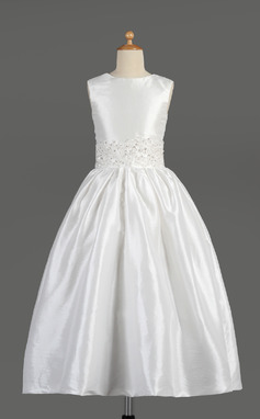 A-Line/Princess Ankle-length Flower Girl Dress - Taffeta Sleeveless Scoop Neck With Lace/Beading (010014609)