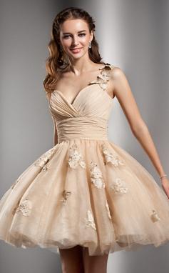 Vestidos princesa/ Formato A Um ombro Curto/Mini Tule Vestido de boas vindas com Pregueado Bordado fecho de correr (022020672)