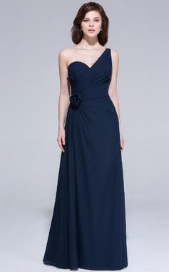 Forme Princesse Encolure asymétrique Longueur ras du sol Mousseline Robe de soirée avec Plissé Fleur(s) (007037243)
