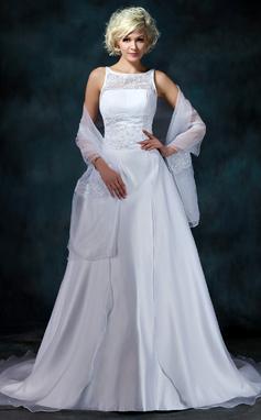 Forme Princesse Col rond Traîne mi-longue Satiné Organza Robe de mariée avec Dentelle Emperler (002000104)