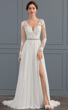 A-Line/Princess V-neck Sweep Train Chiffon Wedding Dress With Beading Sequins Split Front (002134406)