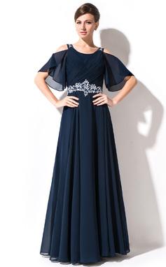 Vestidos princesa/ Formato A Decote redondo Longos Tecido de seda Vestido para a mãe da noiva com Renda Beading lantejoulas Babados em cascata (008054984)