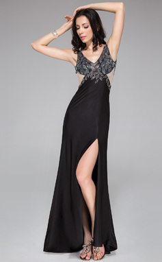 Sheath/Column V-neck Sweep Train Tulle Jersey Prom Dress With Beading Split Front (018044962)
