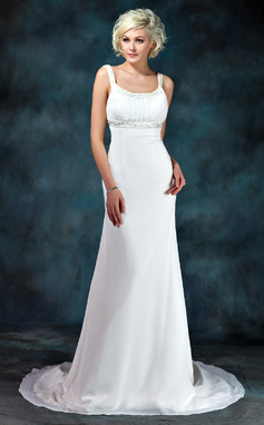 Empire Scoop Neck Court Train Chiffon Wedding Dress With Ruffle Beading (002001673)