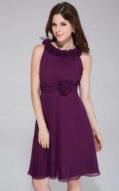 Vestidos princesa/ Formato A Decote redondo Coquetel De chiffon Vestido de madrinha com Pregueado fecho de correr (007026082)