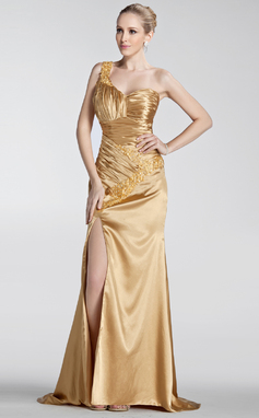 A-Line/Princess One-Shoulder Sweep Train Charmeuse Prom Dress With Ruffle Beading Appliques Lace Split Front (018135253)