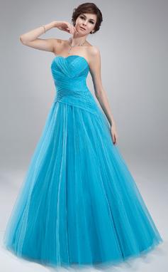 Corte de baile Escote corazón Hasta el suelo Tul Vestido de quinceañera con Volantes Bordado (021018806)