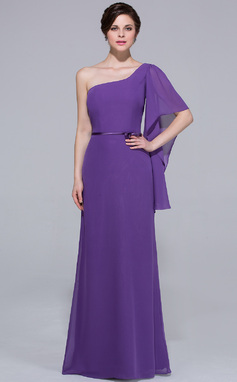 Sheath/Column One-Shoulder Floor-Length Chiffon Bridesmaid Dress (007037218)