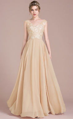 A-Line/Princess V-neck Floor-Length Chiffon Lace Bridesmaid Dress With Beading Sequins (007105581)
