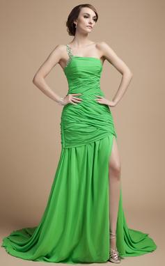 Vestidos princesa/ Formato A Um ombro Cauda de sereia De chiffon Vestido de Férias com Pregueado Bordado Frente aberta (020026036)