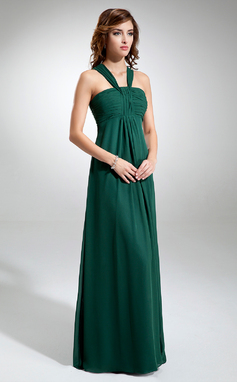 Empire V-neck Floor-Length Chiffon Bridesmaid Dress With Ruffle (007001897)