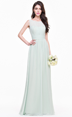 A-Line/Princess Scoop Neck Floor-Length Chiffon Bridesmaid Dress With Ruffle (007068368)