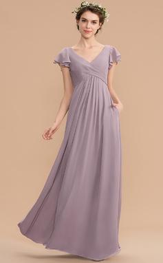 Corte A Decote V Longos Tecido de seda Vestido de madrinha com Babados em cascata Bolsos (007176734)