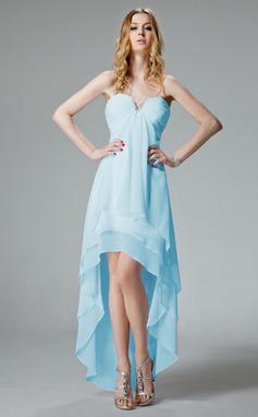 Vestidos princesa/ Formato A Decote V Assimétrico De chiffon Vestido de boas vindas com Pregueado Bordado (022013082)