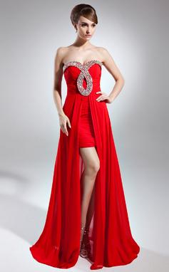Vestidos princesa/ Formato A Coração Assimétrico De chiffon Vestido de baile com Pregueado Bordado (018015626)