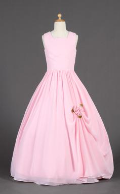 Ball Gown Floor-length Flower Girl Dress - Chiffon Sleeveless Square Neckline With Ruffles/Flower(s) (010014626)