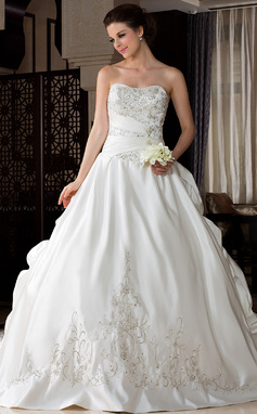 Ball-Gown Sweetheart Royal Train Satin Wedding Dress With Embroidered Ruffle Beading (002033766)