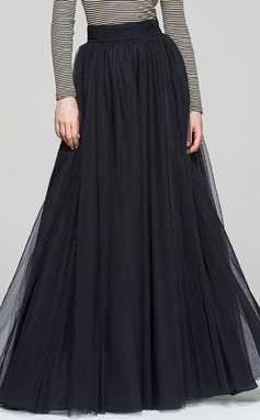 Трапеция/Принцесса Длина до пола Тюль Коктейльные Платье (016087553)