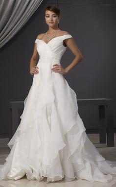 Forme Princesse Epaules nues Traîne mi-longue Organza Robe de mariée avec Dentelle Emperler Robe à volants (002014481)