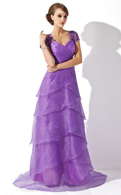 A-Line/Princess V-neck Sweep Train Organza Mother of the Bride Dress With Ruffle Lace Beading Sequins (008005749)
