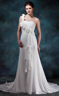 A-Lijn/Prinses Sweetheart Een-Schouder Hof sleep De Chiffon Bruidsjurk met Bloem(En) Ruches (002011988)
