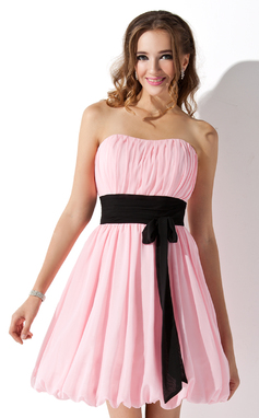 Empire Sweetheart Short/Mini Chiffon Bridesmaid Dress With Ruffle Sash Bow(s) (007051854)