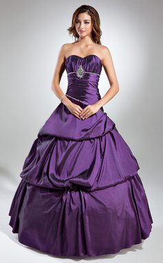 Corte de baile Novio Hasta el suelo Tafetán Vestido de baile de promoción con Volantes Cuentas (018135520)