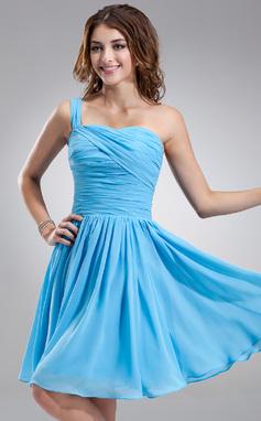 Vestidos princesa/ Formato A Um ombro Coquetel De chiffon Vestido de boas vindas com Pregueado (022020773)