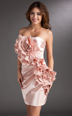 Sheath/Column Strapless Short/Mini Charmeuse Cocktail Dress With Ruffle Beading Flower(s) (016008320)