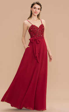 Corte A Amada Longos Tecido de seda Lantejoulas Vestido de madrinha com Curvado Bolsos (007176750)