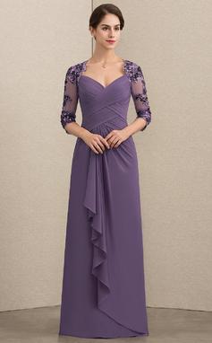 Vestidos princesa/ Formato A Amada Longos Tecido de seda Lantejoulas Vestido para a mãe da noiva com Babados em cascata (008152147)