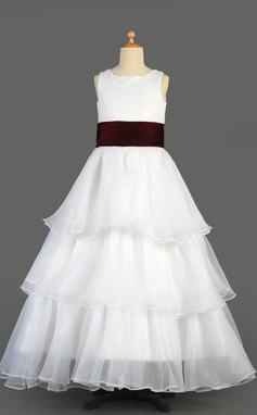 A-Line/Princess Floor-length Flower Girl Dress - Organza/Satin Sleeveless Scoop Neck With Ruffles/Sash (010014639)