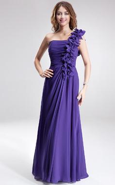 Vestidos princesa/ Formato A Um ombro Longos De chiffon Vestido de madrinha com Pregueado (007020327)