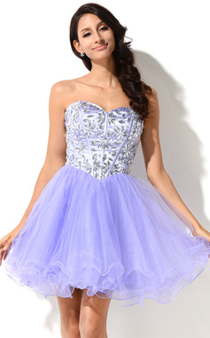 A-Line/Princess Sweetheart Short/Mini Organza Tulle Charmeuse Prom Dress With Beading (018046231)