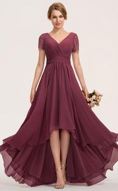 Трапеция V-образный асимметричный шифон Кружева Платье Подружки Невесты (007190720)