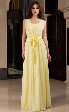Vestidos princesa/ Formato A Decote V Longos De chiffon Vestido de madrinha com Pregueado Curvado (007027453)