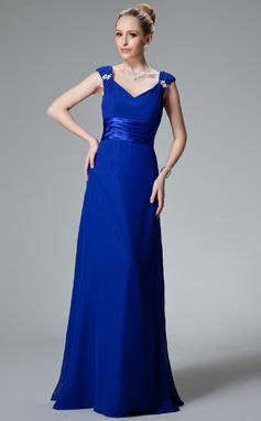 Vestidos princesa/ Formato A Decote V Longos De chiffon Charmeuse Vestido de madrinha com Pregueado Bordado (007000925)
