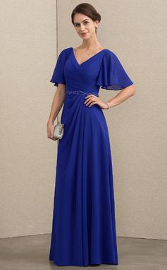 Vestidos princesa/ Formato A Decote V Longos Tecido de seda Vestido para a mãe da noiva com Beading lantejoulas (008152157)