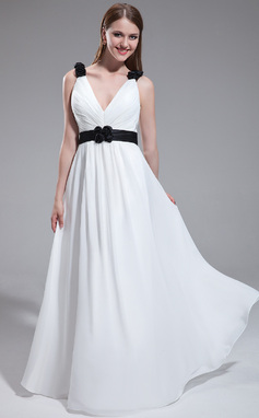 A-Line/Princess V-neck Floor-Length Chiffon Bridesmaid Dress With Ruffle Sash Flower(s) (017025318)