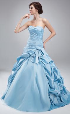 Платье для Балла В виде сердца Длина до пола Тафта Тюль Пышное платье с Рябь Бисер (021004692)