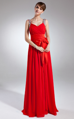 A-Line/Princess V-neck Floor-Length Chiffon Holiday Dress With Ruffle Beading Sequins Bow(s) (020025939)