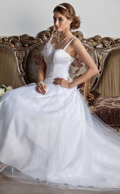 Трапеция/Принцесса В виде сердца Церемониальный шлейф Тюль Свадебные Платье с Рябь Цветы (002013798)