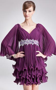 Vestidos princesa/ Formato A Decote V Curto/Mini Tecido de seda Vestido de Férias com Beading lantejoulas Plissada (020036570)
