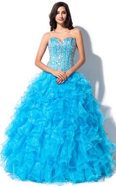 Corte de baile Escote corazón Hasta el suelo Organdí Vestido de quinceañera con Bordado Lentejuelas (021055197)